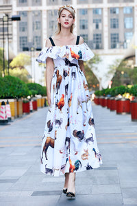Runway Summer Spaghetti Strap Maxi Dress Women's Fashion Animal Printed Vacation Party Ruffles Long Dresses