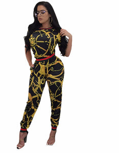New Casual Two Pieces Print Women Jumpsuit