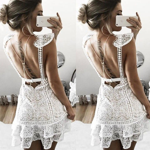White Lace Dress Womens Evening Party Summer Mini Playsuit Backless Sundress Ladies Women Casual Brief Solid Dresses Sexy