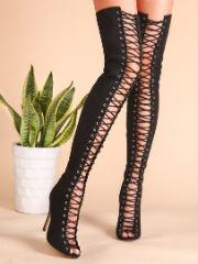 Black Sexy Criss Cross Lace Up Suede Thigh High Boots - NaomisStore.com