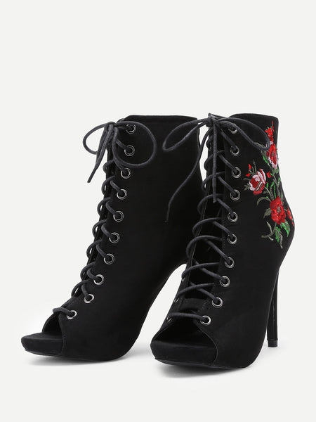 Flower Embroidery Lace Up High Heel - NaomisStore.com