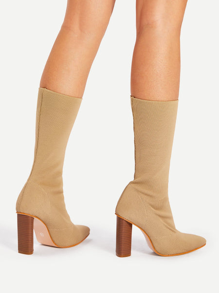 Apricot Pointed Toe Block Heeled Knit Boots - NaomisStore.com