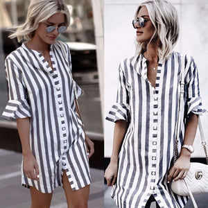 2018 summer new striped straight shirt casual button V-neck half long sleeve tops Vintage flare sleeve blouse - NaomisStore.com