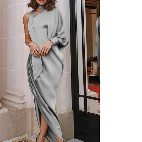 2018 New Style Fashion Women's Solid Long Dress Irregular Split Party Solid Dress Casual Summer Plus - NaomisStore.com