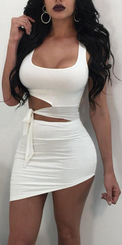 Sexy Women Bodycon Mini Dress Cocktail Party dress hollow lace up  Clubwear dress female women