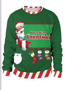Christmas Pullovers O-neck Women Santa Claus Green Sweatshirt Polyester 3d Male 2018 New Year - NaomisStore.com