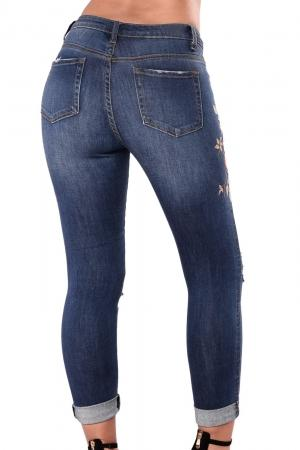Floral Embroidered Knee Distress Skinny Jeans - NaomisStore.com