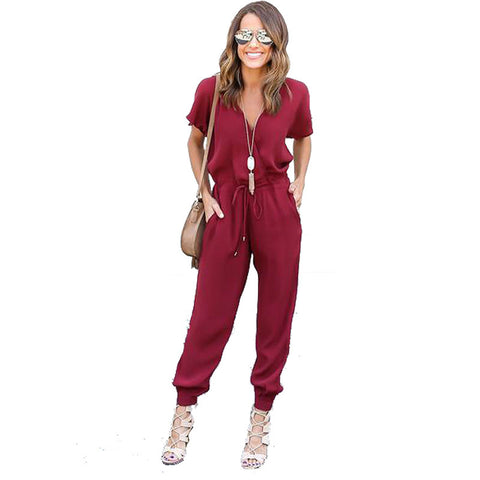 Kaywide 2018 Summer Sexy V Neck Pleated Waist Pocket Rompers Womens Jumpsuit Loose Cross Overalls Short Sleeve Playsuit S-XL - NaomisStore.com