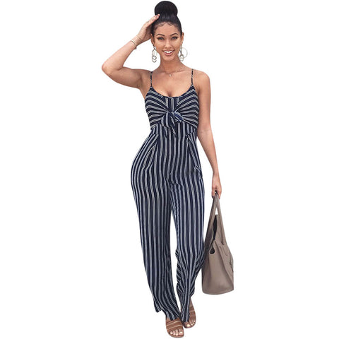 Elegant Striped Sexy Spaghetti Strap Rompers Womens Jumpsuit Sleeveless BacklessBow Casual Wide legs Jumpsuits Leotard Overalls - NaomisStore.com