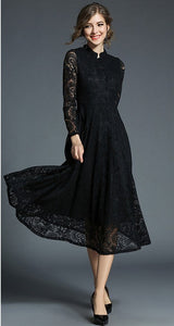 Autumn Winter Dress Women 2018 Elegant Sexy Hollow Out Lace Dress Vintage Long Sleeve Ball Gown Party Dress - NaomisStore.com