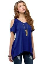 Blue V Neck Cold Shoulder Swing Loose Blouse - NaomisStore.com