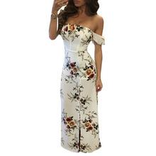 White Floral Off Shoulder Maxi Dress