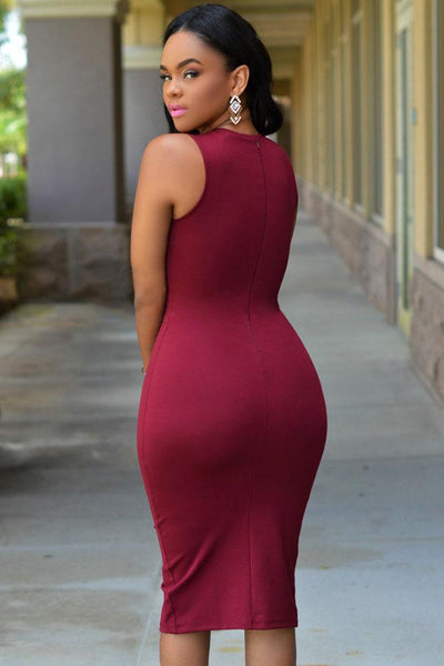 Burgundy Lace Up Front Bodycon Dress - NaomisStore.com