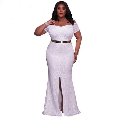 Drop-ship White Floor Length Lace Off Shoulder Maxi dress - NaomisStore.com