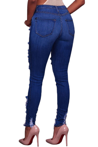 Blue Whiskery Destroyed Skinny Jeans - NaomisStore.com