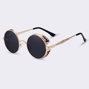 Vintage Round Metal Carving Sunglasses