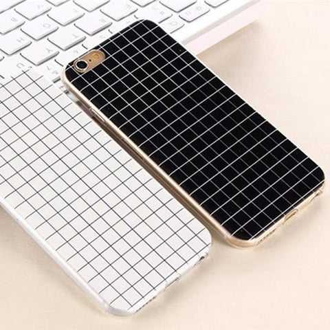 Retro Concise Black White Grid Geometry Soft Iphone Case