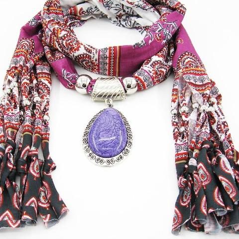 Charms winter printing Scarf Necklaces tassel