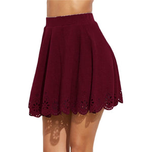 Burgundy Laser Cut Out Scallop Hem Textured A Line Skirt - NaomisStore.com