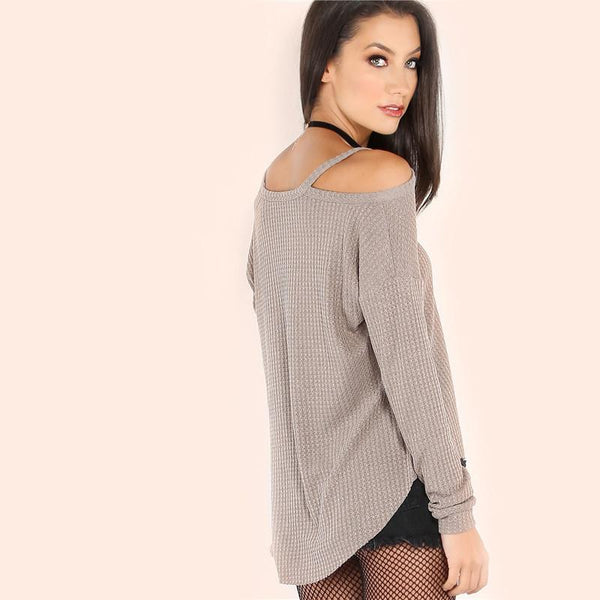 Khaki Waffle Knit Cold Shoulder Long Sleeve Blouse - NaomisStore.com