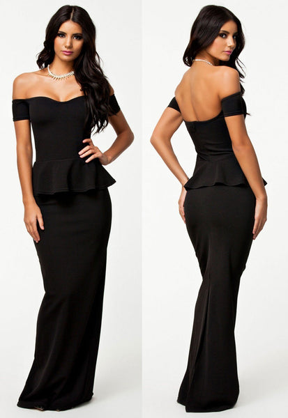 Black Drop Shoulder Short Sleeve Peplum Maxi Dress - NaomisStore.com