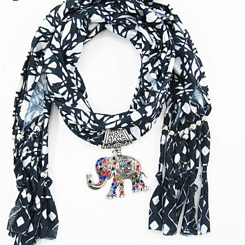 Scarf Necklaces Vintage Elephant Pendants scarf Necklaces Women Scarf Necklaces