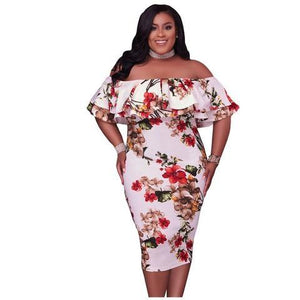 Drop-ship Plus Size Floral Off Shoulder Bodycon Dress - NaomisStore.com