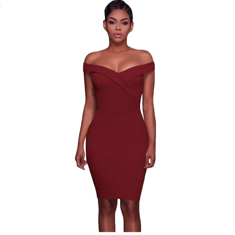 Burgandy Off The Shoulder Fitted Mini Dress - NaomisStore.com