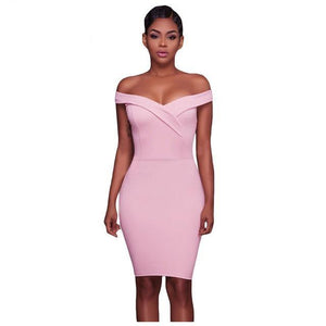 Drop-ship Pink Off The Shoulder Fitted Mini Dress - NaomisStore.com