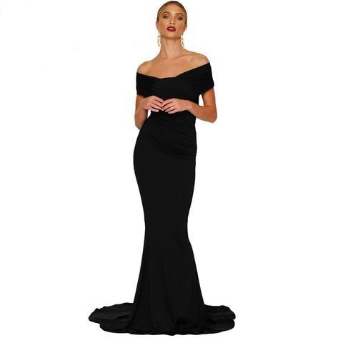 Black Off Shoulder Mermaid Long Dress - NaomisStore.com