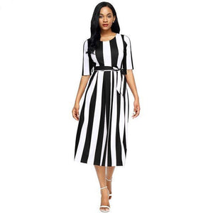 Black Stripe Print Half Sleeve Belted Midi Dress - NaomisStore.com