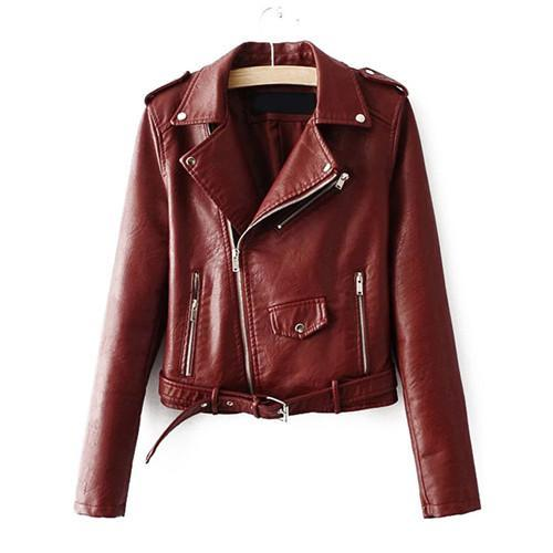 Brown Faux Leather Belted Moto Basic Jacket - NaomisStore.com