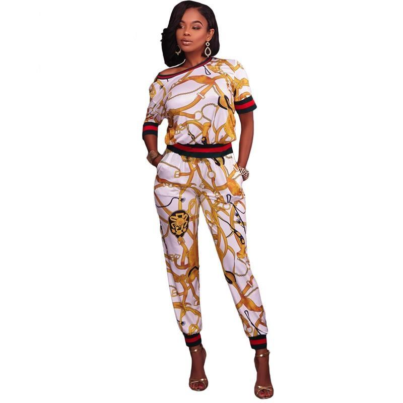 Drop-ship Two Piece Multiple Print Short Sleeve Top with Pant Set Tracksuit - NaomisStore.com