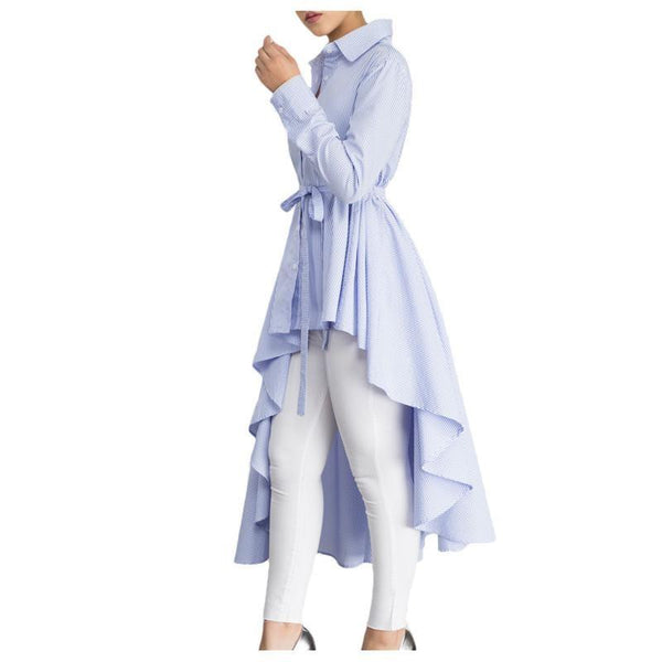 Light Blue Lapel High Low Belted Tunic Top - NaomisStore.com