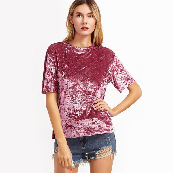 Drop Shoulder Short Sleeve Velvet Blouse - NaomisStore.com