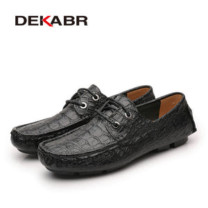 DEKABR Brand Unisex Flats Genuine Leather Summer Fashion Crocodile Style Footwear Handmade Casual Moccasins For Man Shoes Unisex - NaomisStore.com