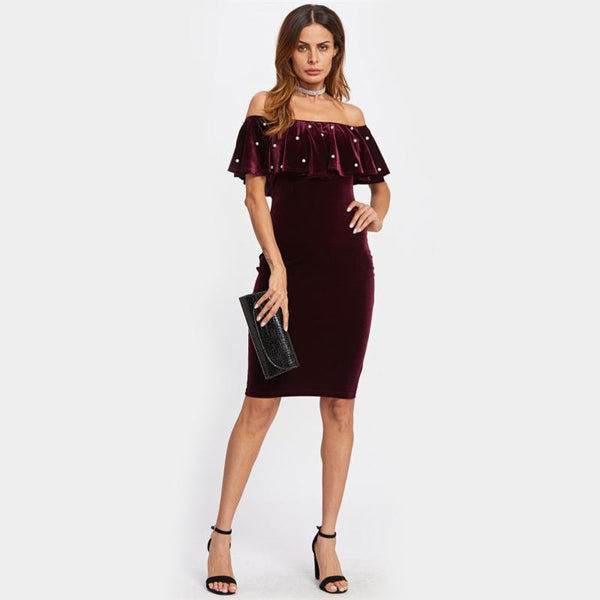Burgundy Pearl Detail Frill Off the Shoulder Midi Dress - NaomisStore.com