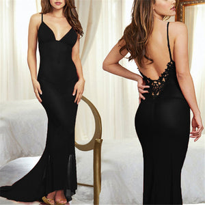 Black Transparent Mesh Babydoll Long Dress - NaomisStore.com