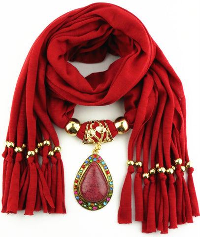 New Arrival Charms winter Scarf Necklaces tassel bead Water Drop Pendant scarf Necklaces Women Scarf Necklaces Jewelry Wholesale