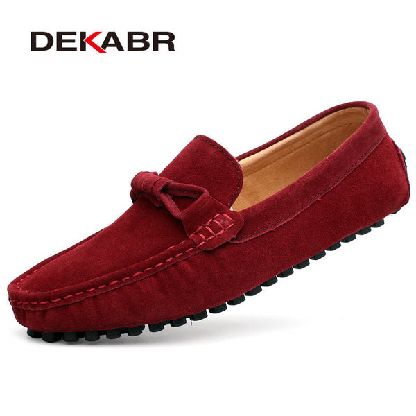 DEKABR New 2018 Men Cow Suede Loafers Spring Autumn Genuine Leather Driving Moccasins Slip on Men Casual Shoes Big Size 38~46 - NaomisStore.com