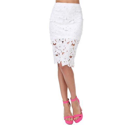 Crochet Lace Pencil High Waisted Skirt - NaomisStore.com