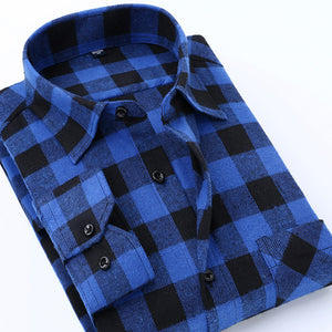Check Design Brushed Fabric Slim Fit Shirt - NaomisStore.com
