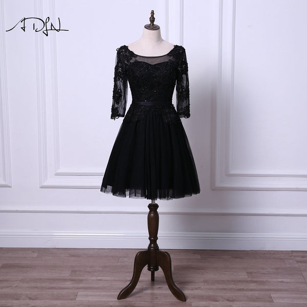 ADLN Little Black Dresses Scoop Cocktail Dress with Sleeves A-line Tulle Black/Ivory Short Prom Wear Robe de Cocktail 2018