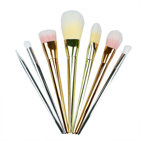 Gold Makeup Synthetic Hair Make Up Brush