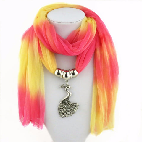New spring autumn Scarf Necklaces Multicolor Vintage Peacock Pendant scarf