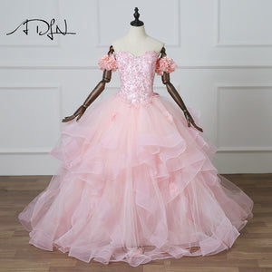 ADLN 2018 New Vestidos De 15 Anos Pink Quinceanera Dresses Ball Gowns Princess Custom Made Debutante Gowns with Floral