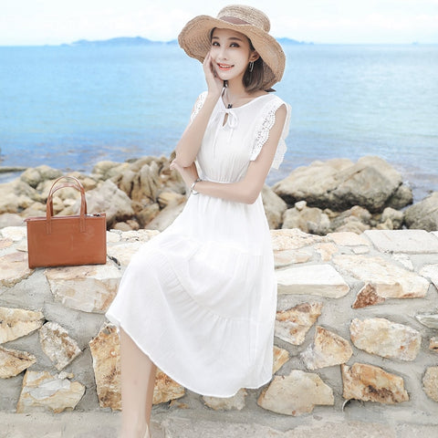 Women Summer Dress  White Cape Sleeveless Casual Lace  Dress