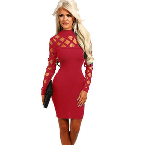 Autumn Burgundy Bodycon Dress Draped Back Velvet Womens Sexy Dresses - NaomisStore.com