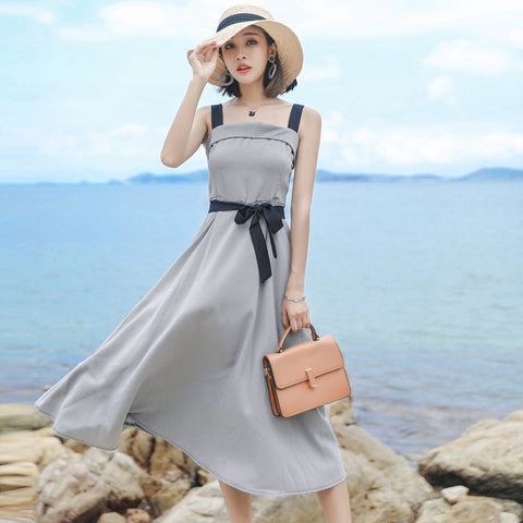 Elegant  Summer Sleeveless Bodycon Party Plaid Dress