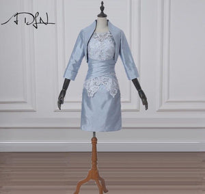 ADLN 2018 Cheap Mother of the Bride Dresses with Jacket Three Quarter Sleeves Lace Wedding Guest Gown Plus Size